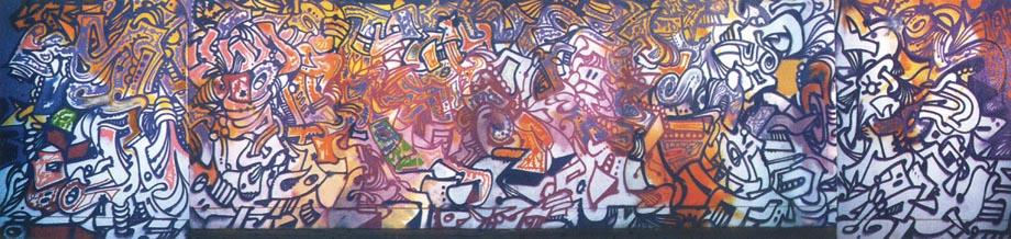 Genova - 1995 - graffito del maestro newyorkese del writing, che ora sarebbe chiamato street art(ist), Phase II, classe 1955, realizzato nell'ambito del progetto coloriamo nel 1995 - nella l'opera realizzata nel sottopassaggio davanti alla stazione Brignole in Via Cadorna